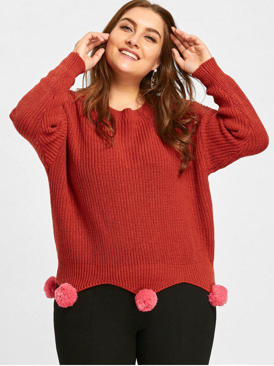 2019 Plus Size Chunky Knit Tunic Sweater With Pompoms In Jacinth One
