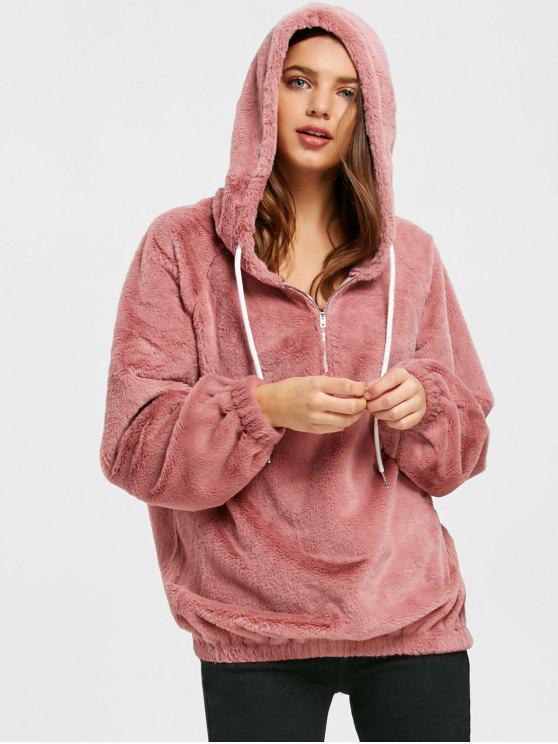 shop Half Zip Faux Fur Hoodie - LEATHER PINK L