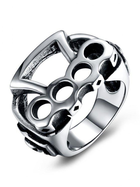 Anel de motociclista de rolamento de aço com titânio de padrão geométrico - Prateado  10