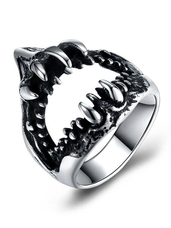 ladies Gothic Style Stainless Steel Teeth Biker Ring - SILVER 10