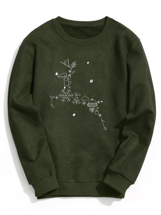 outfits Suede Christmas Reindeer Sweatshirt - ARMY GREEN XL