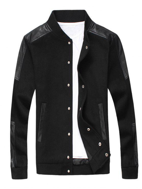 Schlanke Druckknopf-Wollmischung Jacke - Schwarz 5XL