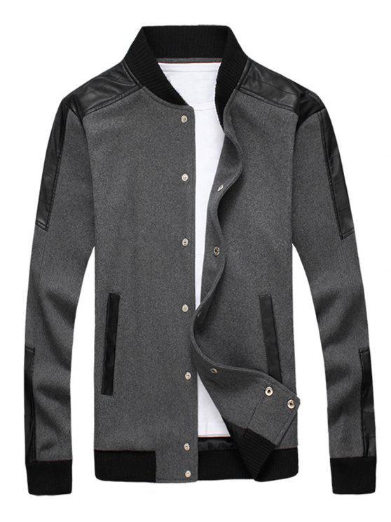 Schlanke Druckknopf-Wollmischung Jacke - Grau 3XL