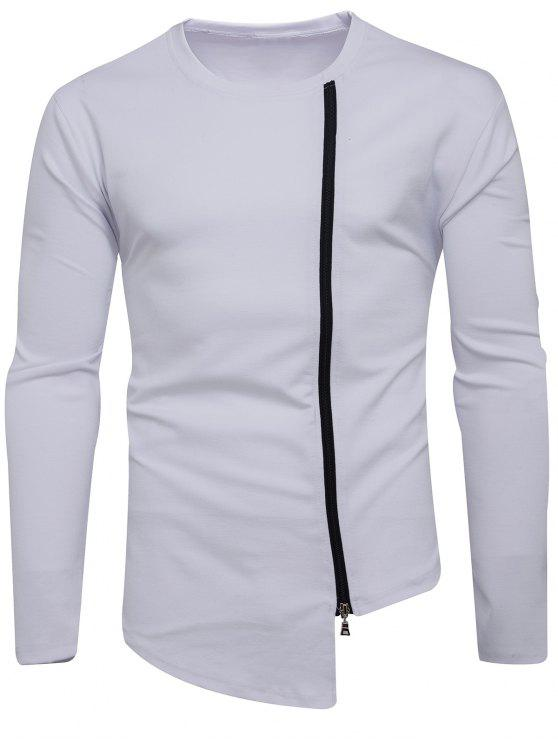 Crew Neck Oblique Zip Up Asimétrica Camiseta - Blanco L
