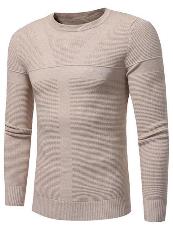 Maglione Pullover Di Jacquard Con Stampa Grafica A Girocollo - Cachi 3XL