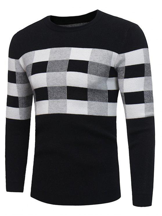 Maglia del pullover del plaid del blocchetto di colore del collo dell'equipaggio - Nero XL