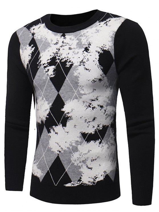 best Crew Neck Tartan Tie Dye Print Pullover Sweater - BLACK XL