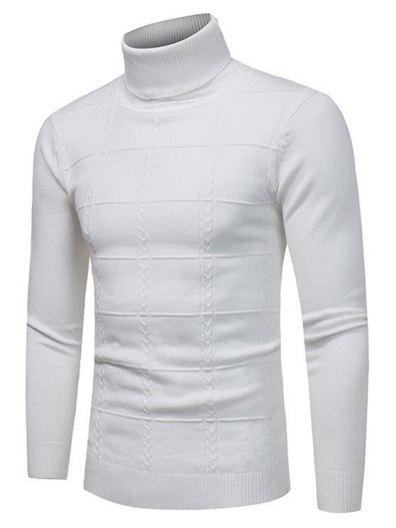 Maglione Pullover Di Jacquard A Quadri Con Collo Alto - Bianca 3XL