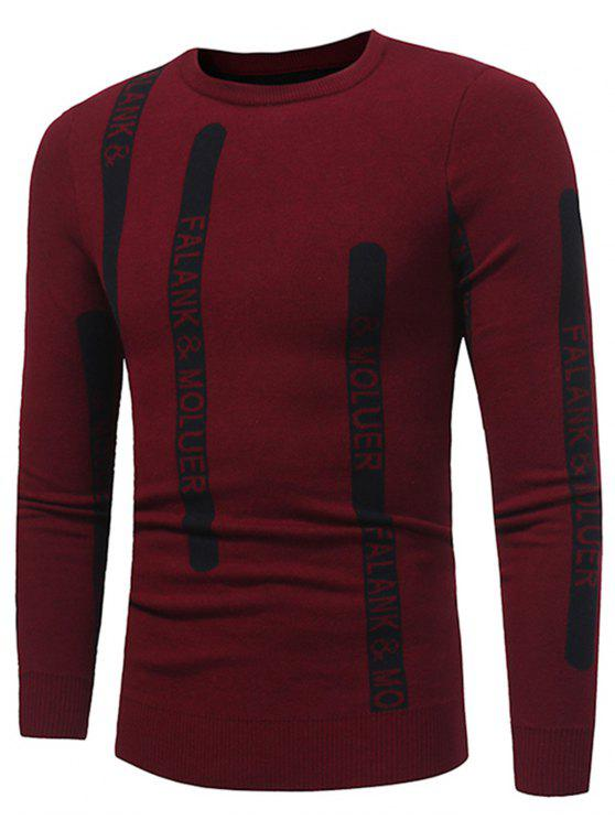 latest Crew Neck Graphic Print Ribbed Pullover Sweater - RED XL