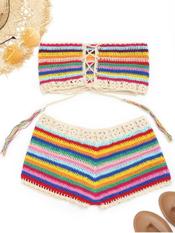 shops Colorful Crochet Top and Cover-up Shorts - COLORMIX ONE SIZE