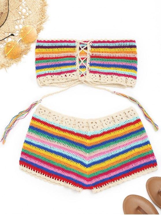 Pantalones cortos coloridos de arriba y encubiertos de ganchillo - Colormix Única Talla