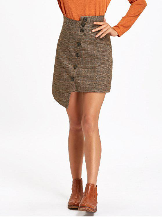 latest Button Down Asymmetrical Plaid Skirt - TAUPE M