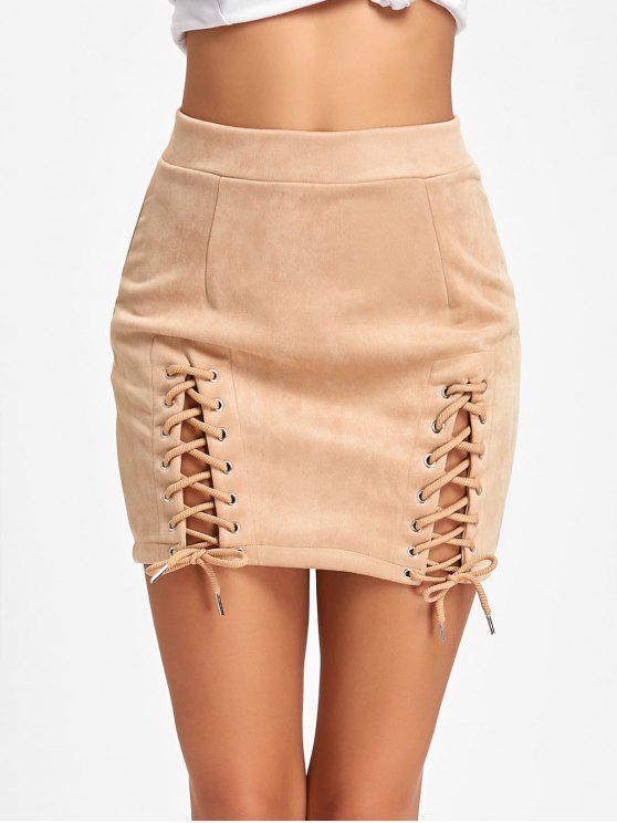 تنورة مصغرة سويدي اصطناعي - مشمش M
