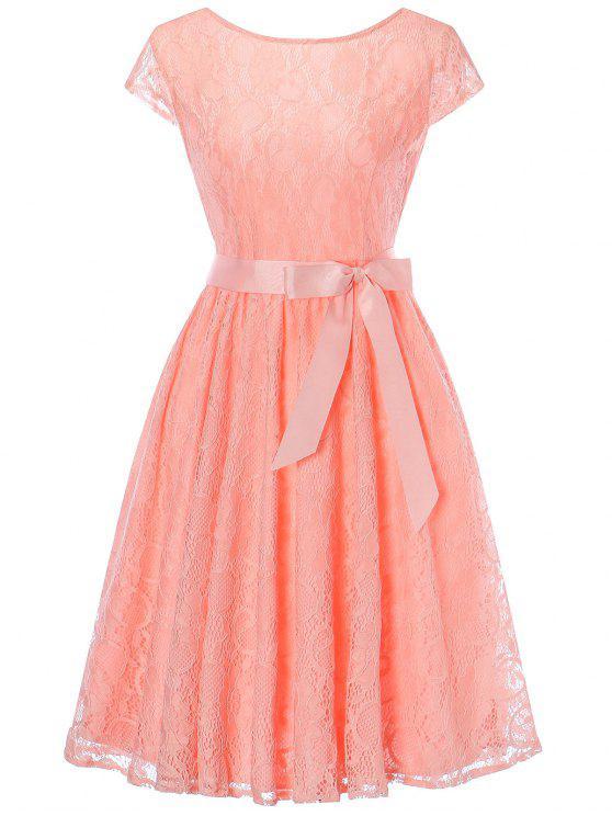 Swing Spitzenkleid mit Flügelärmeln - orange pink  XL