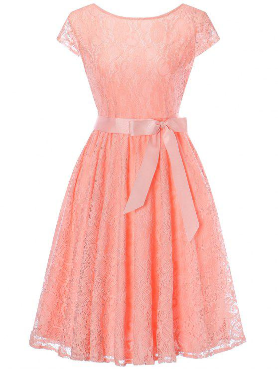 Vestido de encaje con mangas capucha - Naranja Rosa 2XL
