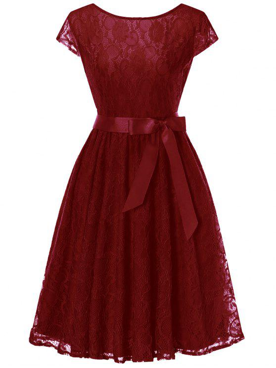 1d2c3b727d1 30% OFF  2019 Cap Sleeve Swing Lace Dress In WINE RED