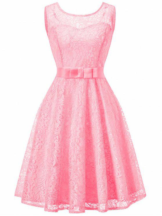 Ärmelloses Spitze Vintage Swing Kleid - Rosa XL