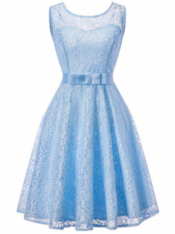 Vestido sin mangas de encaje vintage sin mangas - Azul Claro M