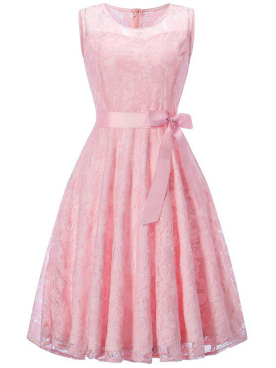Ärmelloses Spitzen-Swing-Party-Kleid - Pink M