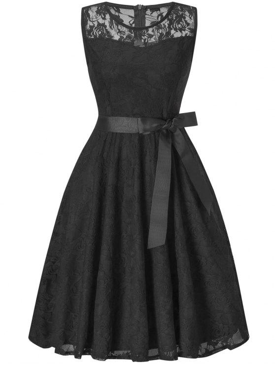 Ärmelloses Spitzen-Swing-Party-Kleid - Schwarz L