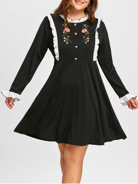 فستان الحجم الكبير طويلة الأكمام - أسود 5XL