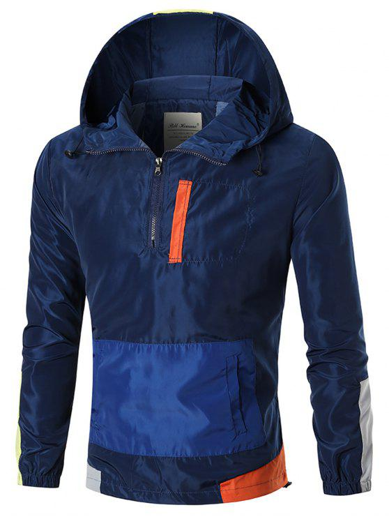 Colorblocked - Kapuzenjacke mit Windbreaker - Blau 2XL