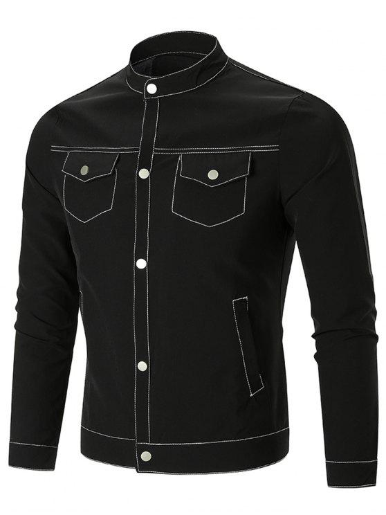outfits Flap Pocket Single-Breasted Jacket - BLACK 2XL