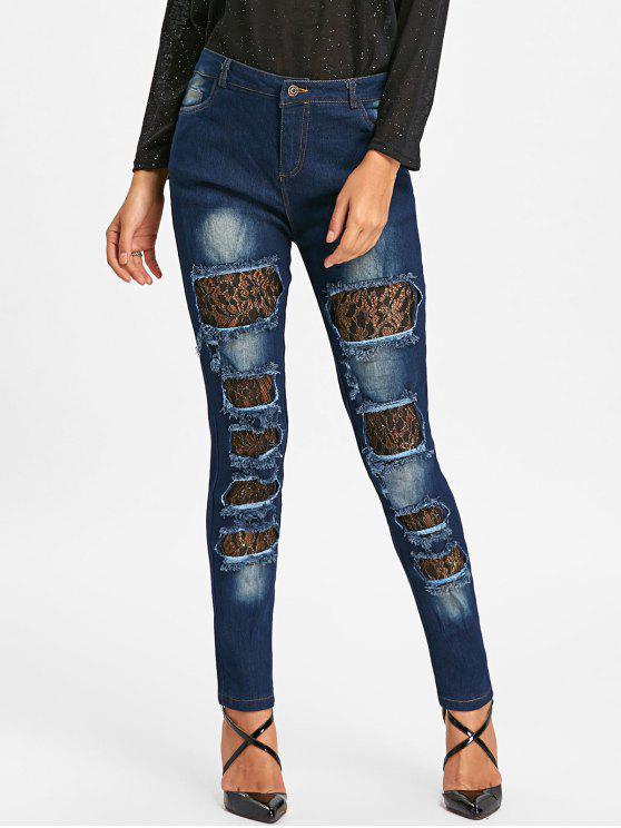 جينز دانتيل مهترئ - أزرق S