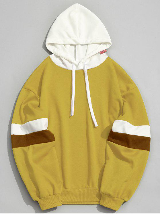 outfits Pockets Color Block Hoodie Men Clothes - MUSTARD XL