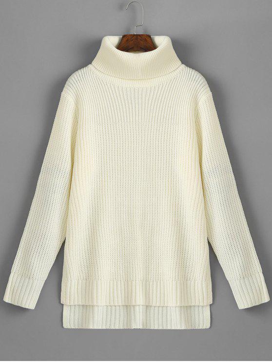 Suéter de Camada com Fenda Lateral e Gola Rolê - Branco Tamanho único