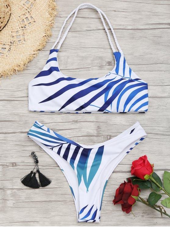 1bd2697f1cd63 2019 Ensemble Bikini Dos-Nu Échancré à Imprimé Feuilles en Blanc S ...