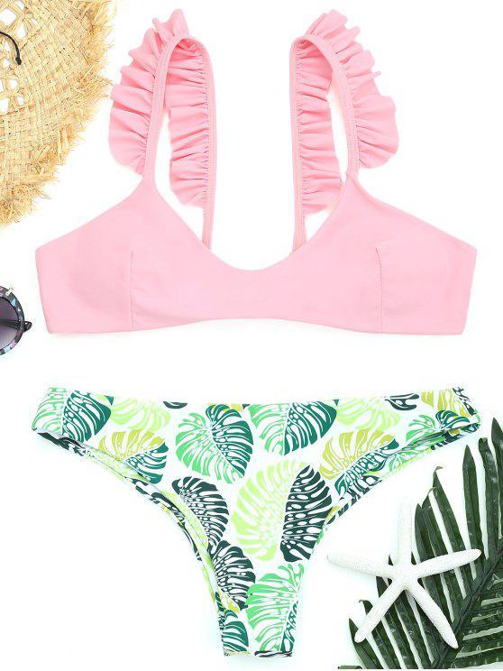 Conjunto de bikini de tanga con volantes de hoja de palmera - Rosado S
