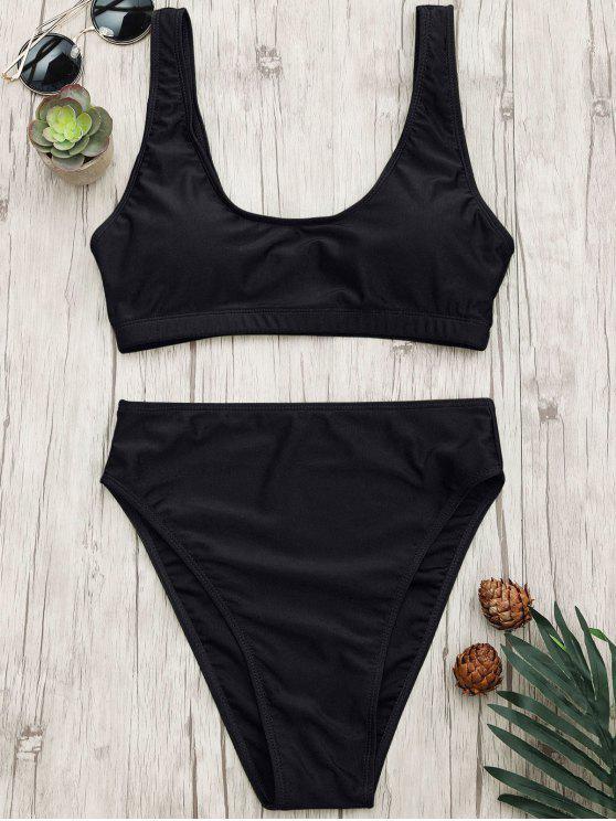 fancy High Cut Scoop Bralette Bikini Set - BLACK M