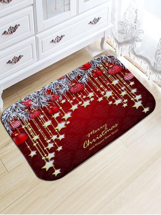 best Christmas Hanging Ball Star Print Nonslip Flannel Bath Mat - DARK RED W20 INCH * L31.5 INCH