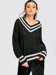 Drop Shoulder Cricket Baggy Jumper - Black