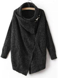 Wrap Collar Open Front Heathered Cardigan - Deep Gray