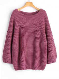 Chunky Off Shoulder Pullover Sweater - Pinkish Purple