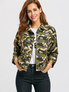 Button Up Camo Print Jacket - Camouflage L