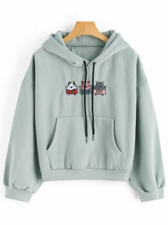 Cartoon Patched Drawstring Kangaroo Hoodie - Greyish Green
