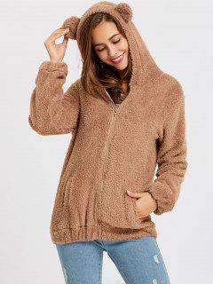 Zip Up Fuzzy Bear Hoodie - Brown
