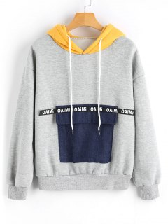 Denim Front Pocket Contrast Hoodie - Gray