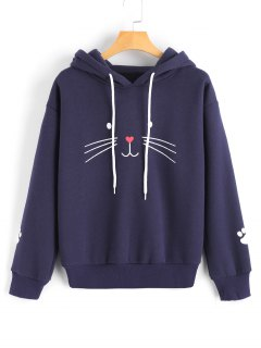 Cat Face Graphic Drawstring Hoodie - Deep Blue