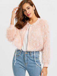 Fluffy Zip Up Crop Jacket - Pink