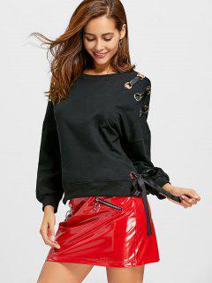 Grommet Slit Sweatshirt - Black S
