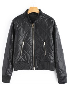 Zip Up PU Leather Jacket With Pockets - Black S