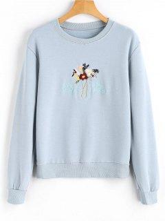 Sweatshirt Mit Blumenstickerei Patch  - Hellblau