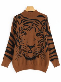 High Neck Tiger Face Graphic Sweater - Brown