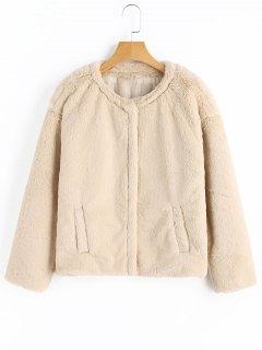 Snap Button Faux Fur Coat - Light Apricot L