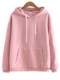 Drawstring Heart Letter Embroidered Hoodie - Pink