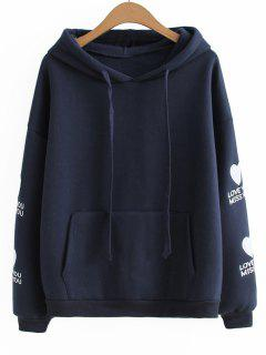 Drawstring Heart Letter Embroidered Hoodie - Purplish Blue
